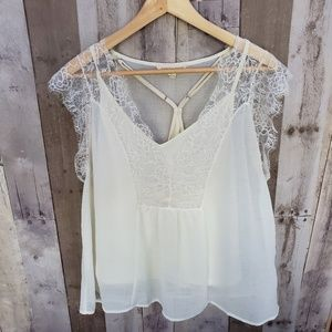 LOVESTITCH IVORY LACE TOP W/TANK SIZE LARGE